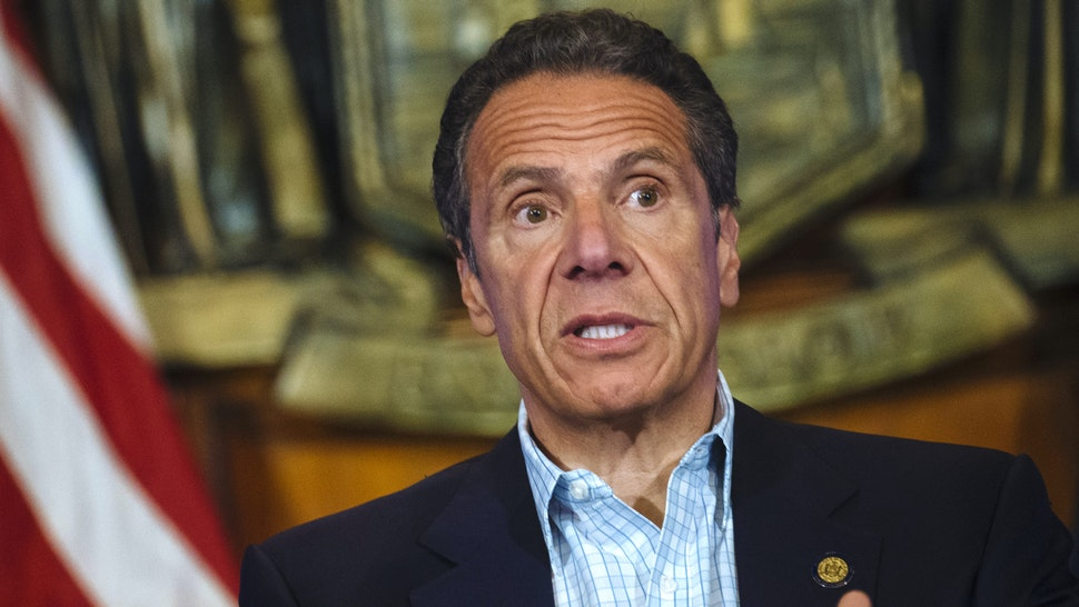 Andrew Cuomo, governor of New York, speaks during a news conference in the Red Room of the New York State Capitol Building in Albany, New York, U.S., on Sunday, May 17, 2020. Cuomo pleaded on Sunday for more New Yorkers to get tested for the coronavirus as the state reopens for business, engaging in a bit of political theater as he underwent a nasal swab test himself at his daily briefing.