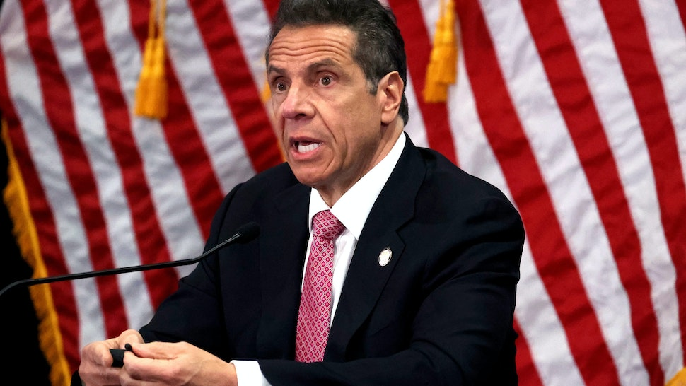 MANHASSET, NEW YORK - MAY 06: New York Governor Andrew Cuomo speaks during a Coronavirus Briefing At Northwell Feinstein Institute For Medical Research on May 06, 2020 in Manhasset, New York.