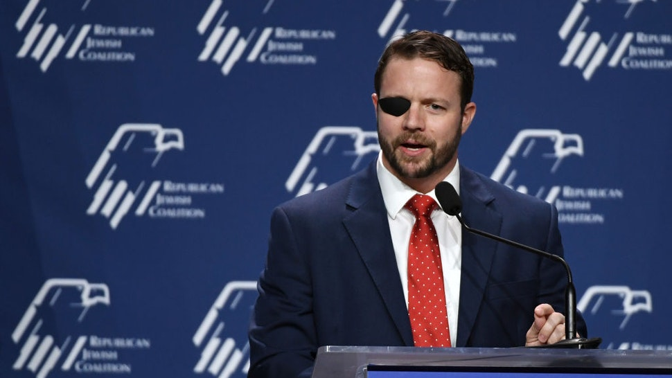 LAS VEGAS, NEVADA - APRIL 06: U.S. Rep. Dan Crenshaw (R-TX) speaks at the Republican Jewish Coalition's annual leadership meeting at The Venetian Las Vegas after appearances by U.S. President Donald Trump and Vice President Mike Pence on April 6, 2019 in Las Vegas, Nevada. Trump has cited his moving of the U.S. embassy in Israel to Jerusalem and his decision to pull the U.S. out of the Iran nuclear deal as reasons for Jewish voters to leave the Democratic party and support him and the GOP instead. (Photo by Ethan Miller/Getty Images)