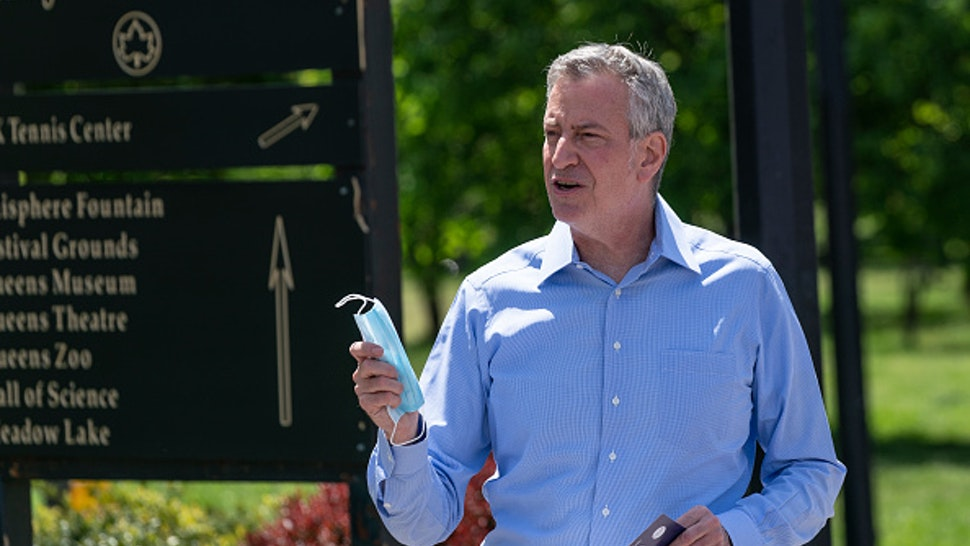 NEW YORK, UNITED STATES - 2020/05/16: Mayor Bill de Blasio addresses City Parks employees in Flushing Meadows Corona Park amid COVID-19 pandemic.