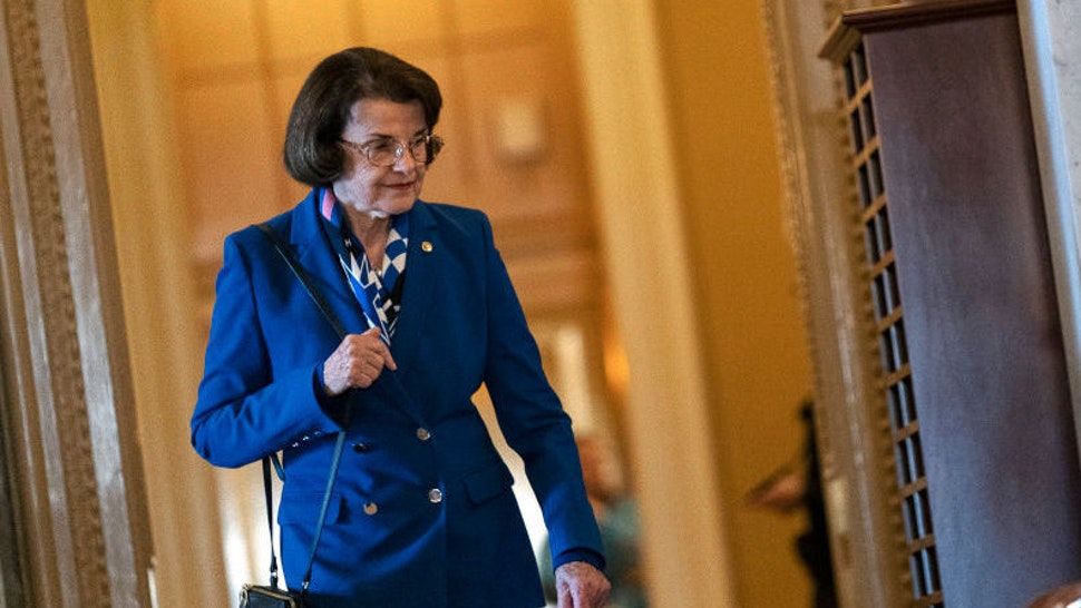 U.S. SenatorDianne Feinstein (D-CA) enters the Senate chamber in the U.S. Capitol on February 3, 2020 in Washington D.C., United States. Closing arguments begin Monday after the Senate voted to block witnesses from appearing in the impeachment trial. The final vote is expected on Wednesday. (Photo by Alex Edelman/Getty Images)