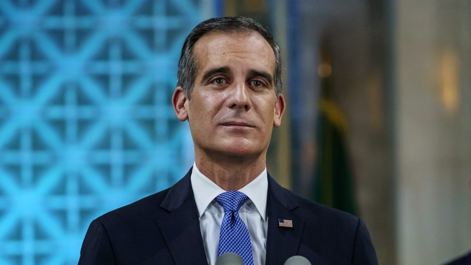 Los Angeles Mayor Eric Garcetti tears up as he gives his annual 'State of the City' speech at City Hall in Los Angeles, Calif., on April 19, 2020.