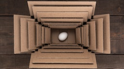 Egg in boxes.