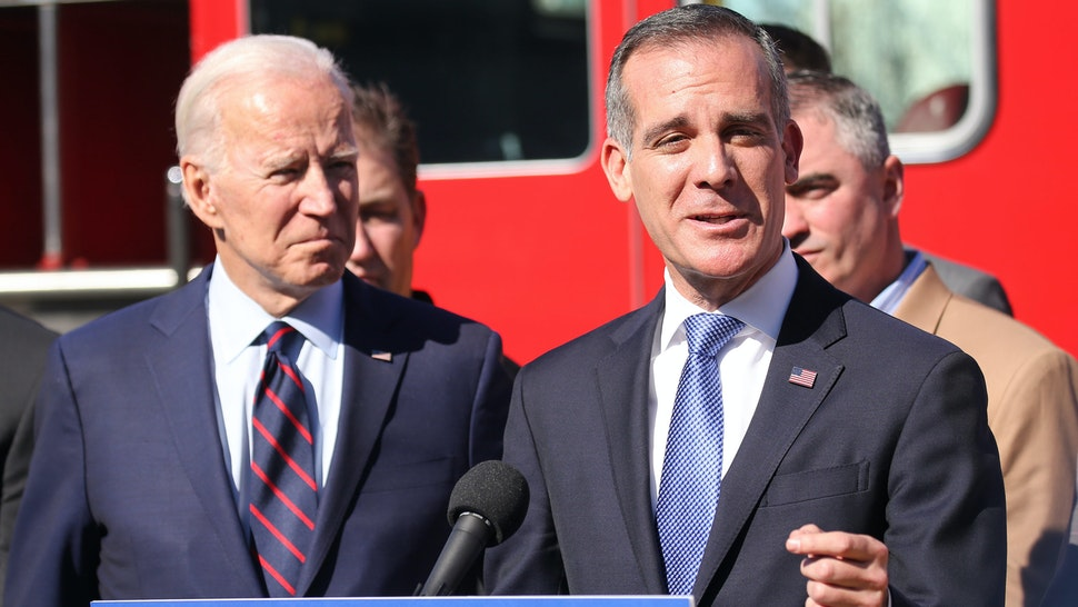 LOS ANGELES, CALIFORNIA - JANUARY 10: Democratic presidential candidate former U.S. Vice President Joe Biden (L) looks on as Los Angeles Mayor Eric Garcetti speaks at a campaign event at United Firefighters of Los Angeles City on January 10, 2020 in Los Angeles, California. Garcetti endorsed Biden yesterday.