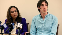 James Damore, a former Google employee who wrote a controversial diversity memo, appears alongside attorney Harmeet Dhillon during a press conference Monday, Jan. 8, 2018, in San Francisco, Calif., announcing a lawsuit against his former employer.
