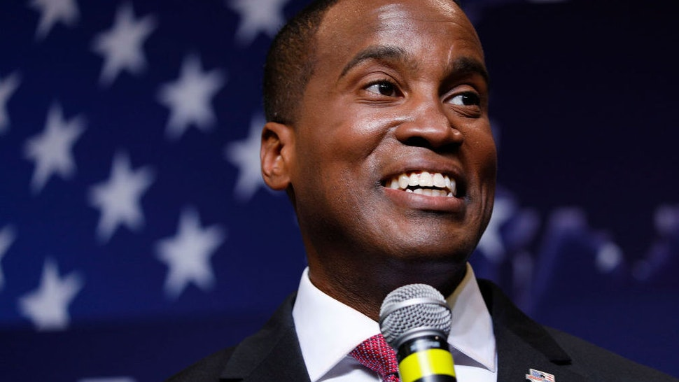 John James, Michigan GOP Senate candidate, speaks at an election night event after winning his primary election at his business, James Group International August 7, 2018 in Detroit, Michigan.