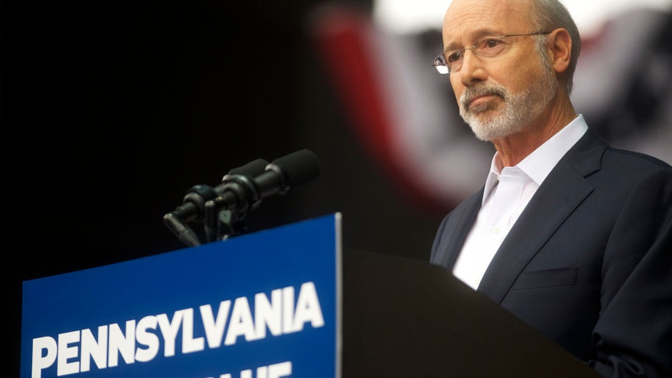 Pennsylvania Governor Tom Wolf addresses supporters before former President Barack Obama speaks during a campaign rally for statewide Democratic candidates on September 21, 2018 in Philadelphia, Pennsylvania. Midterm election day is November 6th.