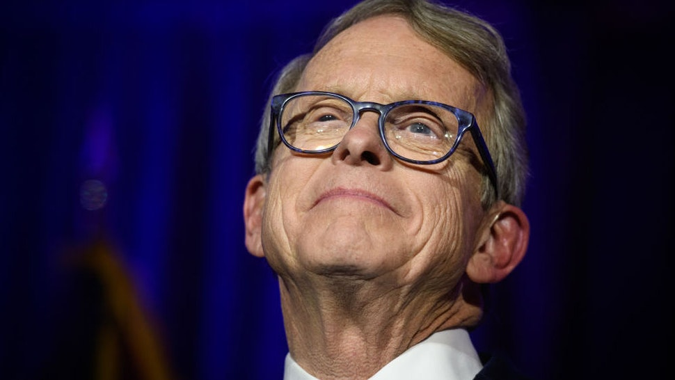 Republican Gubernatorial-elect Ohio Attorney General Mike DeWine gives his victory speech after winning the Ohio gubernatorial race at the Ohio Republican Party's election night party at the Sheraton Capitol Square on November 6, 2018 in Columbus, Ohio.