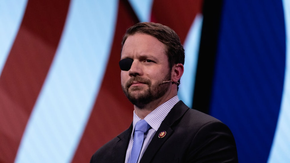 Rep. Dan Crenshaw (R-TX), speaks at the 2019 American Israel Public Affairs Committee (AIPAC) Policy Conference, at the Walter E. Washington Convention Center in Washington, D.C., on Monday, March 25, 2019.