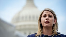 Rep. Katie Hill, D-Calif., speaks at a press conference to introduce ACTION for National Service outside of the Capitol on Tuesday June 25, 2019.