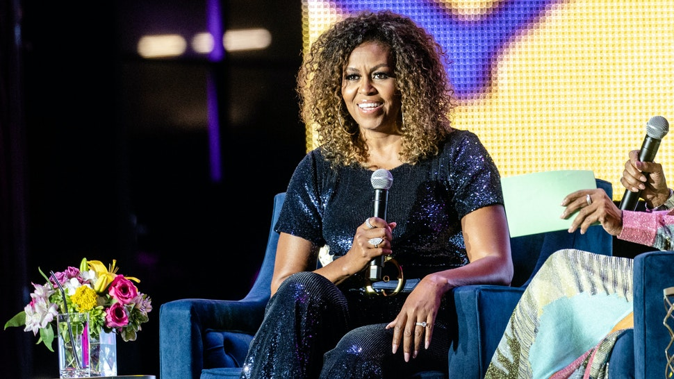 NEW ORLEANS, LOUISIANA - JULY 06: Former First Lady Michelle Obama is interviewed at the 25th Essence Music Festival at The Mercedes-Benz Superdome on July 06, 2019 in New Orleans, Louisiana. (Photo by Josh Brasted/FilmMagic)