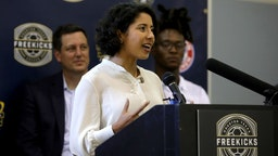 """Lina Hidalgo speaks during a press conference of the """"Freekick Soccer"""" program inspired by DeAndre Hopkins of Houston, Texas."""