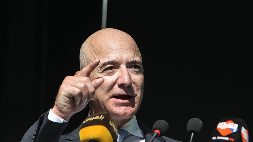 CEO of Amazon and Washington Post owner Jeff Bezos speaks during an event marking the one-year anniversary of the assassination of Saudi dissident journalist Jamal Khashoggi on October 02, 2019 in Istanbul, Turkey.