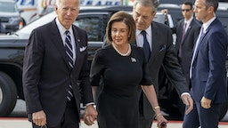 BALTIMORE, MARYLAND - OCTOBER 25: Democratic Presidential candidate, former Vice President Joe Biden, Speaker of the House Nancy Pelosi (D-CA) and Paul Pelosi arrive for the funeral of Rep. Elijah Cummings at New Psalmist Baptist Church on October 25, 2019 in Baltimore, Maryland. A sharecropper's son who rose to become a civil rights champion and the chairman of the powerful House Oversight and Government Reform Committee, Cummings died last week of complications from longstanding health problems.(Photo by Tasos Katopodis/Getty Images)
