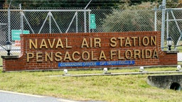 PENSACOLA, FLORIDA - DECEMBER 06: A general view of the atmosphere at the Pensacola Naval Air Station following a shooting on December 06, 2019 in Pensacola, Florida. The second shooting on a U.S. Naval Base in a week has left three dead plus the suspect and seven people wounded. (Photo by Josh Brasted/Getty Images)
