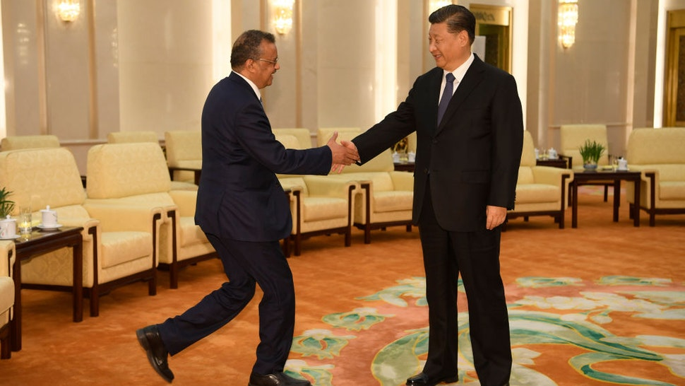 World Health Organization director general Tedros Adhanom (L) shakes hands with Chinese President Xi jinping before a meeting at the Great Hall of the People in Beijing on January 28, 2020. -