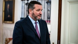 Sen. Ted Cruz, R-Texas, arrives moments before President Donald J. Trump and Prime Minister of the State of Israel Benjamin Netanyahu arrive to announce a long-awaited Israeli-Palestinian peace package in the East Room at the White House on Tuesday, Jan 28, 2020 in Washington, DC.