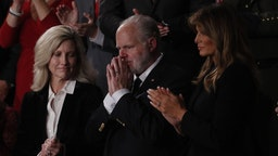 Conservative radio host Rush Limbaugh, who recently announced he's suffering from lung cancer, second right, reacts as he is awarded with the Presidential Medal of Freedom during a State of the Union address to a joint session of Congress at the U.S. Capitol in Washington, D.C., U.S., on Tuesday, Feb. 4, 2020.