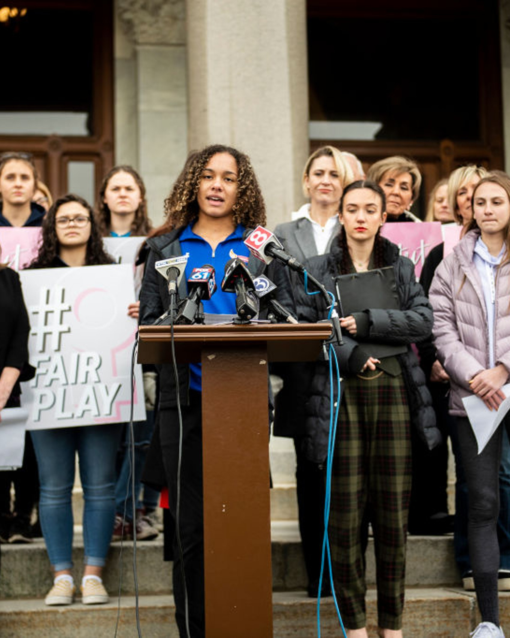 Danbury High School sophomore Alanna Smith speaks during a press conference at the Connecticut State Capitol Wednesday, Feb. 12, 2020, in downtown Hartford, Conn.