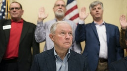 VESTAVIA HILLS, AL - JANUARY 11- Former Attorney General Jeff Sessions is seen during a meeting of local Republicans at the Vestavia Hills Public Library on Saturday, January 11, 20
