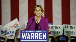 Senator Elizabeth Warren, a Democrat from Massachusetts and 2020 presidential candidate, speaks during a campaign event at East Los Angeles Community College in Monterey Park, California, U.S., on Monday, March 2, 2020. Joe Biden is consolidating support for his Democratic presidential campaign as centrists line up behind him to effectively try to block Bernie Sanders from winning the party's nomination. Photographer: Patrick T. Fallon/Bloomberg via Getty Images