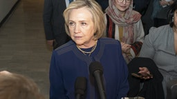 NEW YORK, UNITED STATES - 2020/03/10: Former Secretary of State Hillary Clinton addresses press after meeting on womens rights in Afghanistan at UN Headquarters. (Photo by Lev Radin/Pacific Press/LightRocket via Getty Images)