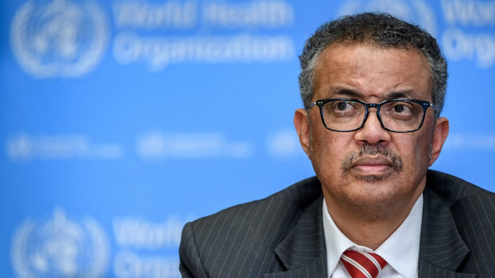 OPSHOT - EDITORS NOTE: Graphic content / World Health Organization (WHO) Director-General Tedros Adhanom Ghebreyesus attends a daily press briefing on COVID-19 virus at the WHO headquarters in Geneva on March 11, 2020. - WHO Director-General Tedros Adhanom Ghebreyesus announced on March 11, 2020 that the new coronavirus outbreak can now be characterised as a pandemic. (Photo by Fabrice COFFRINI / AFP) (Photo by FABRICE COFFRINI/AFP via Getty Images)