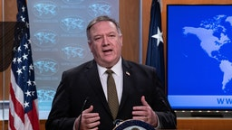 US Secretary of State Mike Pompeo speaks at a press briefing at the State Department in Washington, DC, on April 22, 2020.