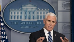 U.S. Vice President Mike Pence speaks during a news conference in the White House in Washington, D.C., U.S., on Friday, April 24, 2020.