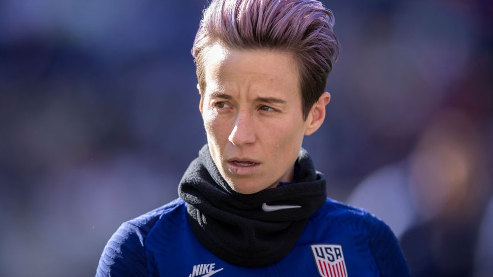 Megan Rapinoe #15 of the United States with pink hair warms up for the 2020 SheBelieves Cup match between United States and Spain sponsored by Visa. The match took place at Red Bull Arena on March 08, 2020 in Harrison, NJ, USA.