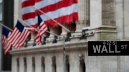 The US flag is seen at the New York Stock Exchange (NYSE) on April 30, 2020 in New York City.