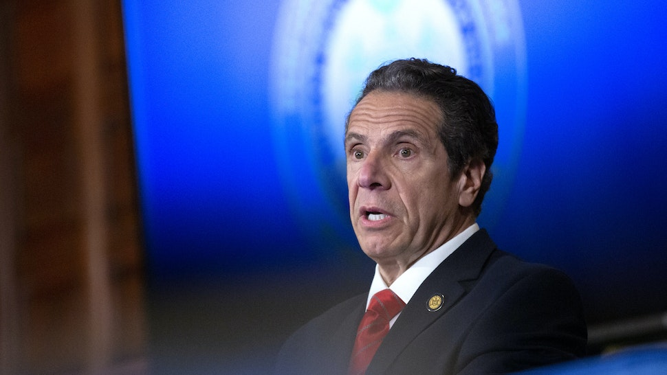 ALBANY, NY - MAY 01: New York State Governor Andrew Cuomo speaks during his daily press briefing on May 1, 2020 in Albany, New York. Cuomo stated that New York will eliminate deductibles for mental health services for frontline workers. (Photo by Stefani Reynolds/Getty Images)