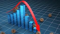 coronavirus make business collapse ,3d render - stock photo