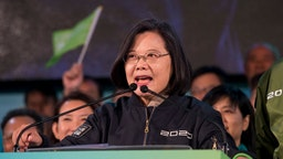 Taiwanese President, Tsai Ing Wen on stage speaking during an election campaign. President Tsai Ing-wen of the ruling Democratic Progressive Party (DPP), continues on her campaign tour for her second term running.