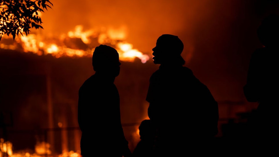 A construction site burns in a large fire near the Third Police Precinct on May 27, 2020 in Minneapolis, Minnesota.