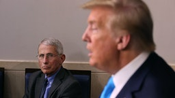 WASHINGTON, DC - APRIL 07: Anthony Fauci, director of the National Institute of Allergy and Infectious Diseases, listens to U.S. President Donald Trump speak to reporters following a meeting of the coronavirus task force in the Brady Press Briefing Room at the White House on April 7, 2020 in Washington, DC. The president today removed the independent chairman of a committee tasked with overseeing the roll out of the $2 trillion coronavirus bailout package.