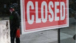 NEW YORK, NY - APRIL 21: A store stands closed as the coronavirus keeps financial markets and businesses mostly closed on April 21, 2020 in New York City. New York City, which has been the hardest hit city in America from COVIT-19, is just starting to see a slowdown in hospital visits and a lowering of the daily death rate from the virus. (Photo by Spencer Platt/Getty Images)