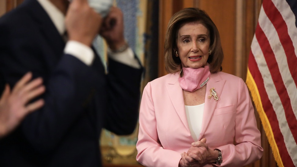 WASHINGTON, DC - MAY 05: U.S. Speaker of the House Rep. Nancy Pelosi (D-CA) is seen during a ceremonial swearing-in at the U.S. Capitol May 5, 2020 in Washington, DC. Rep. Kweisi Mfume (D-MD) will be finishing the term of the late Rep. Elijah Cummings (D-MD) who had passed in October of 2019. (Photo by Alex Wong/Getty Images)