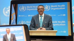 BERLIN, GERMANY - MAY 18: A screen of World Health Organization Director-General Tedros Adhanom Ghebreyesus speaking during the opening ceremony of the 73rd annual World Health Assemble via video conference on May 18, 2020 in Berlin, Germany. (Photo by Peng Dawei/China News Service via Getty Images)BERLIN, GERMANY - MAY 18: A screen of World Health Organization Director-General Tedros Adhanom Ghebreyesus speaking during the opening ceremony of the 73rd annual World Health Assemble via video conference on May 18, 2020 in Berlin, Germany. (Photo by Peng Dawei/China News Service via Getty Images)