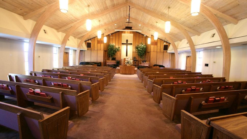 Small Church Sanctuary - stock photo