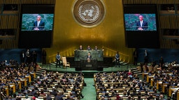 U.S. President Barack Obama speaks at the 69th United Nations General Assembly at United Nations Headquarters on September 24, 2014 in New York City.
