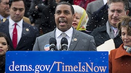 Rep. Steve Horsford, D-Nev., speaks as House Democrats and immigration reform advocates gather on the House steps during a snow squall before heading back into the Capitol to force a vote on immigration reform on Wednesday, March 26, 2014.