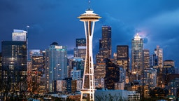 Stormy Sky, Space Needle, Seattle, Washington, America - stock photo