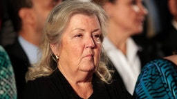 Juanita Broaddrick sits before the town hall debate at Washington University on October 9, 2016 in St Louis, Missouri.