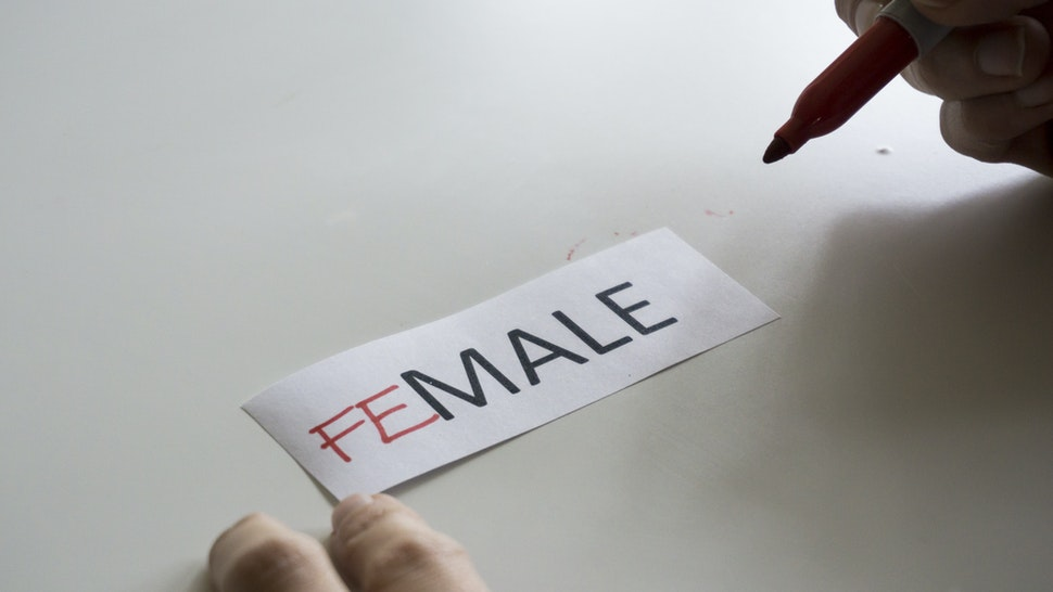 The word MALE, with the letters FE added to spell FEMALE - stock photo