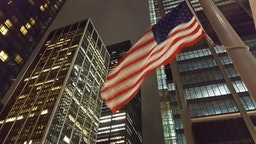 American flag at Ground Zero, World Trade Center Site, Lower Manhattan, at night. New York City, USA