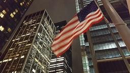 American flag at Ground Zero, World Trade Center Site, Lower Manhattan, at night. New York City, USA