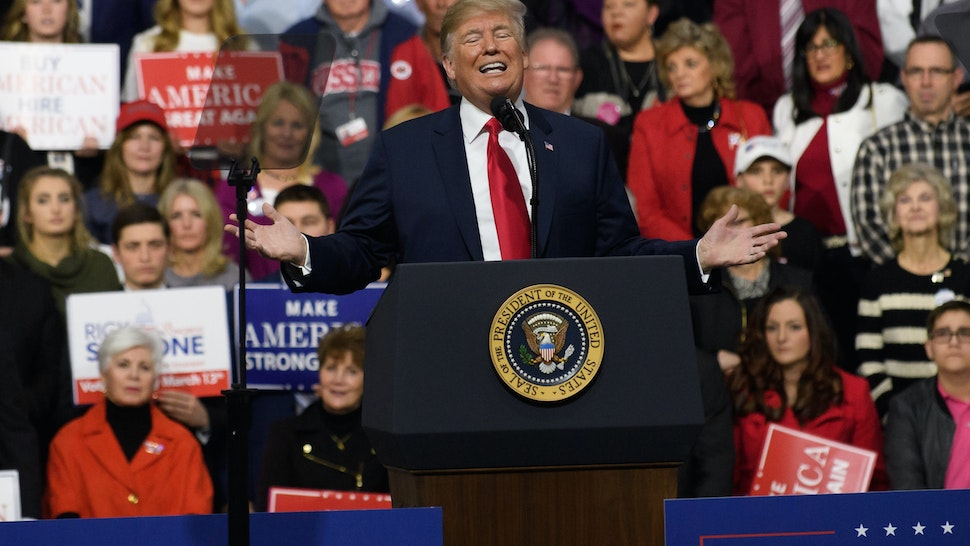MOON TOWNSHIP, PA - MARCH 10: President Donald J. Trump speaks to supporters at the Atlantic Aviation Hanger on March 10, 2018 in Moon Township, Pennsylvania. The president made a visit in a bid to gain support for Republican congressional candidate Rick Saccone who is running for 18th Congressional District in a seat vacated by Tim Murphy. (Photo by Jeff Swensen/Getty Images)