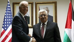 US Vice President Joe Biden (L) and Palestinian President Mahmoud Abbas shake hands during their meeting at the Presidential compound on March 10, 2010 in Ramallah, West Bank.
