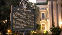 BRUNSWICK, GA - MAY 06: A marker stands in front of the historic Glynn County courthouse May 6, 2020 in Brunswick, Georgia. Authorities are facing scrutiny over a recently released video that appears to show 25-year-old Ahmaud Arbery being gunned down while jogging during a confrontation with an armed father and son on February 23.